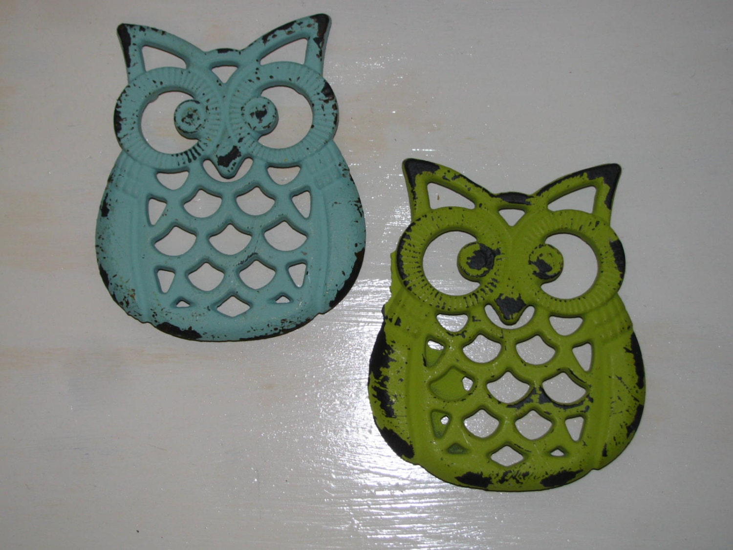 Owl trivets aqua and lime green kitchen home decor - Turquoise and lime green decor ...