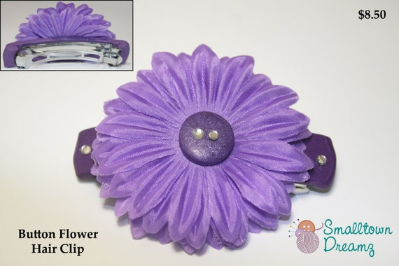 Handmade Purple Polymer Clay  Button Flower Hair Clip