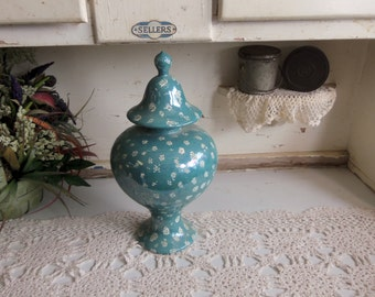 Vintage Tall Lidded Vase Ceramic with White Accents  B273