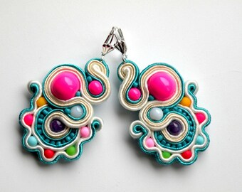 Funfair - Earrings - Soutache Jewelry - Hand Embroidered