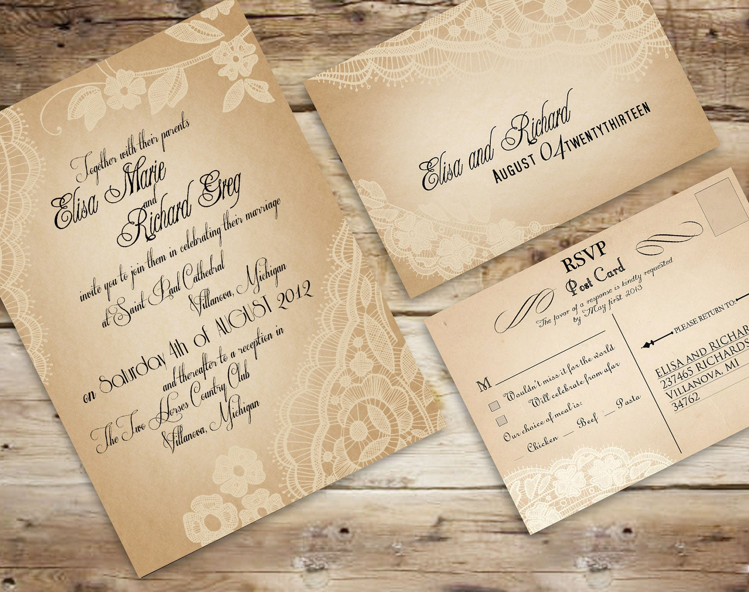 Lace Wedding Invitation: PRINTABLE Vintage Lace WEDDING INVITATION Set By