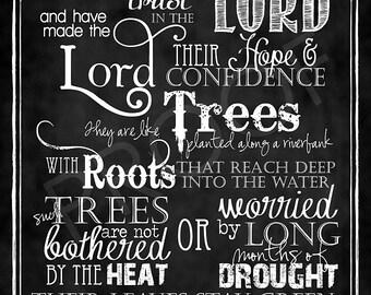 Scripture Art - Jeremiah 17:7-8 Chalkboard Style