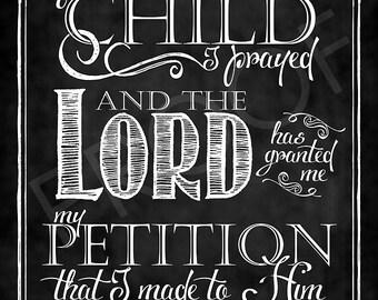 Scripture Art - I Samuel 1:27 Chalkboard Style