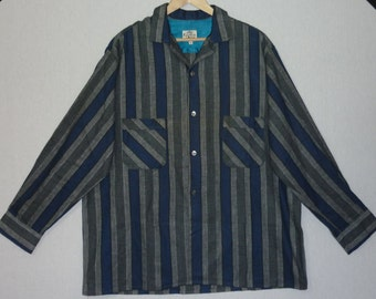 1950s Shirt / XL - XXL / Gradation / Stripe / Rockabilly / Flannel / Work Shirt / Gene Vincent / RnR