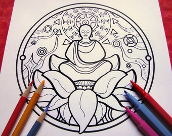 buddhist mandala coloring pages - angel messenger mandala coloring page single page to print