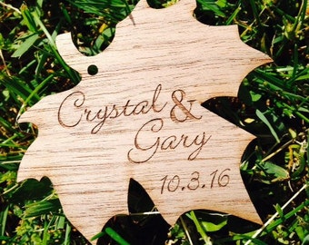 Wood Leaf Favor Tag