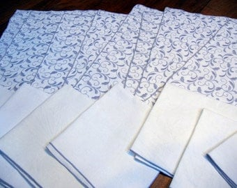 RESERVED for Jan: Embroidered Linen placemats and napkins - set for 8