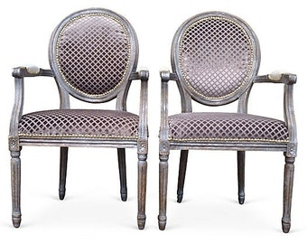 Pair of French Louis Accent Chairs Painted Distressed Silver Upholstered Gray Velvet