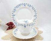 Teacup and Saucer Set Royal Albert Blue Memory Lane