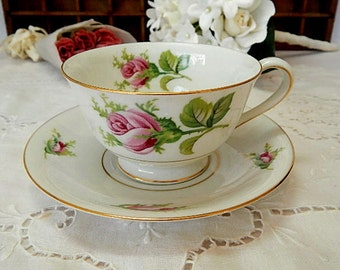 Vintage Teacup and Saucer Pink Rosebuds