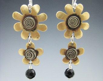 Flower Earrings, Flower Dangle Earrings, Mixed Metal Flower Earrings RP0398ER