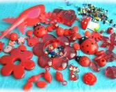 Set red Mix cabochons and many pcs