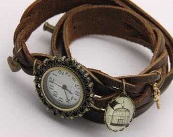 bracelet Brown leather cage and bird