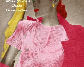 A BEST Vintage 1945 Irish Lace Blouse 521 PDF Digital Crochet Pattern