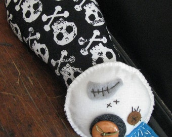 Soft Sculpture Skelly King! cotton fabric, poly stuffed, skulls