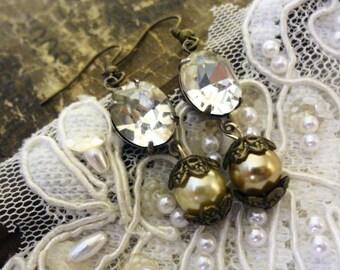 Bridal Estate Style Earrings,Assemblage Boho Earrings, Victorian Earrings,  Downton Abbey Earrings, Gypsy Earrings, Edwardian Earrings