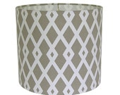Lamp Shade Lampshade Graphic Fret by Robert Allen at Home in Flax Taupe Made to Order