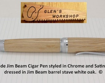 Ballpoint Pen Handmade Parker Pen Chrome, Satin Chrome, Jim Beam Pen White Oak Bourbon Gifts