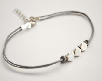 Silver nuggets bracelet, gray cord bracelet with matt silver nugget beads cubes, geometric dainty bracelet, minimalist jewelry, gift for her