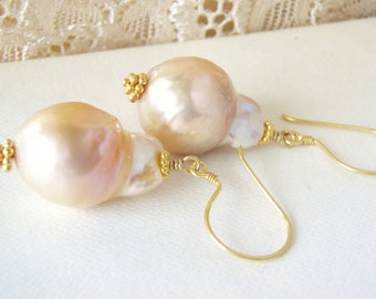 Peach pearl earrings, gold vermeil, nucleated pearls, gold jewelry
