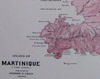 Antique MARTINIQUE MAP Caribbean Map 1905 RARE Map Travel Gallery Wall Art Beach House Decor Gift for Traveler  3342