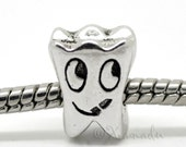 Smiling Tooth European Bead For European Charm Bracelets And Necklaces - Gifts For Dentists, Dental Hygienist, Dental Assistants