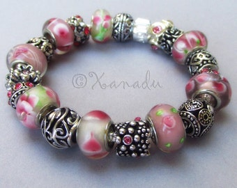 Pretty In Pink European Charm Bracelet With Pink Flower Lampwork Glass Beads And Silver Floral Charms