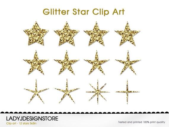 GOLD GLITTER Digital STARS 12 Glitter Stars By