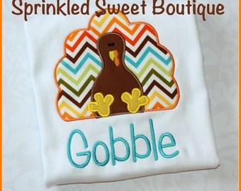 Thanksgiving Chevron Turkey Boy Girl Baby Applique Custom Monogram Shirt First Thanksgiving Gobble Day