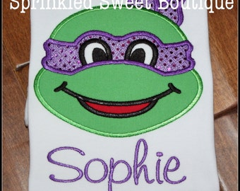 Teenage Mutant Ninja Turtles TMNT Applique Shirt - Boys or Girls Any Color Mask Birthday Shirt