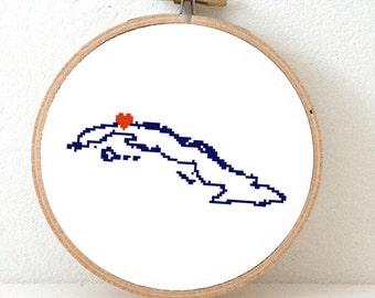 CUBA map embroidery pattern. Cuban art. Old Havana heart. Carribean map. Carribea art. Carribean wedding gift. Latino wedding gift