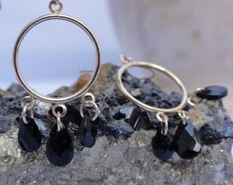 14K solid yellow gold hoop earrings , black onyx earrings, teardrops black onyx earrings,solid gold hoops,solid gold hoop earrings