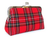 Royal Stewart Red Tartan Plaid Wool Clutch, Scottish Tartan with Forest Green Dupioni Silk Lining