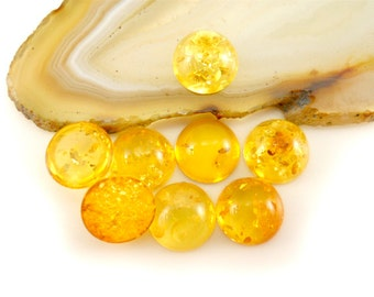 8mm - Natural Baltic Amber cabochon  - citrine - 1pice  cab [c15]