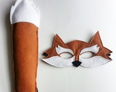 CHILD Felt Fox Mask and Tail Halloween costume Photography prop