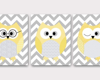 Owl Decor Owls Nursery Baby Nursery Art Decor Kids Wall Art Nursery Print Baby Room Decor Kids Art Boy Print set of 3 Yellow Gray