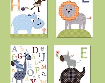 Childrens Art Kids Wall Art Baby Boy Room Decor Baby Boy Nursery Kids Art Baby Nursery Print set of 4 Elephant Giraffe Hippopotamus Blue