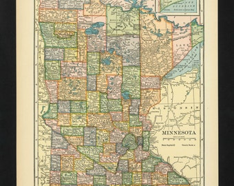 Vintage Map Minnesota From 1926 Original