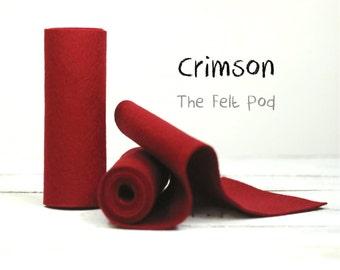 "Wool Felt Roll - 100% Wool Felt in color CRIMSON - 5"" X 36"" Wool Felt Roll - Merino Wool Felt - Craft Felt"