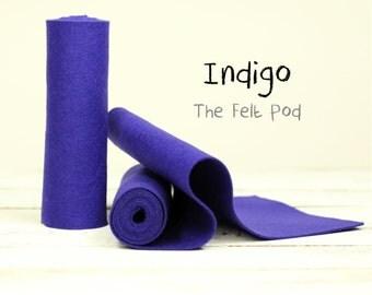 "100 Percent Wool Felt Roll - Wool Felt color INDIGO - 5"" X 36"" Wool Felt - 100% Wool Felt"