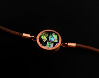 Bismuth Bracelet - Solid Copper Bracelet and Leather Bracelet - Adjustable, Iridescent Crystal, Crystal Jewelry, Fractal Bracelet