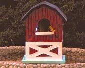 "Wooden Hand Painted ""Barnyard"" Birdhouse"