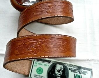 Leather Belt - Tooled Belt - Unisex Belt - Size 34 Waist - Vintage Dollar Bill Buckle - Florescent Large Buckle - Cowboy Belt - Mens Womans