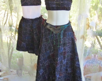Mother and Daughter matching outfits bohemian halter top and long skirt perfect gypsy dancer spring festival, autumn harvest festivals