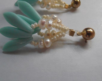 Beach, Summer fresh water Pearl and aqua glass dangle earrings