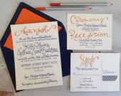 Wedding Invitations Navy Orange