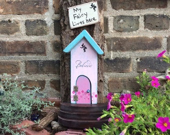 Fairy house, Fairy door, Fairy garden, pink fairy house, Fairy door that opens, birthday gift, unique gifts,