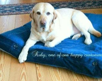 "DUVET 30 x 50 x 4"" Handmade Square Pet Blue Denim Jeans Dog Pillow CASE Dog Cat Durable Washable blue Buttons hand made"