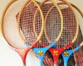 A Super Badminton Set in its Original Plaid Plastic Bag - 'The King' Brand -  Four Red or Blue Rackets and Two Shuttlecocks - Outdoor Fun