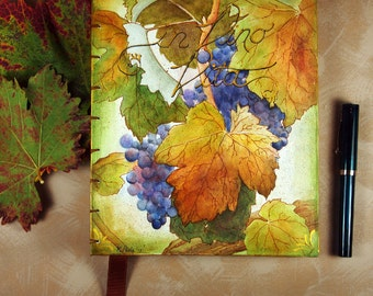 blank art journal autumn grapes autumn original painting gold purple wine journal